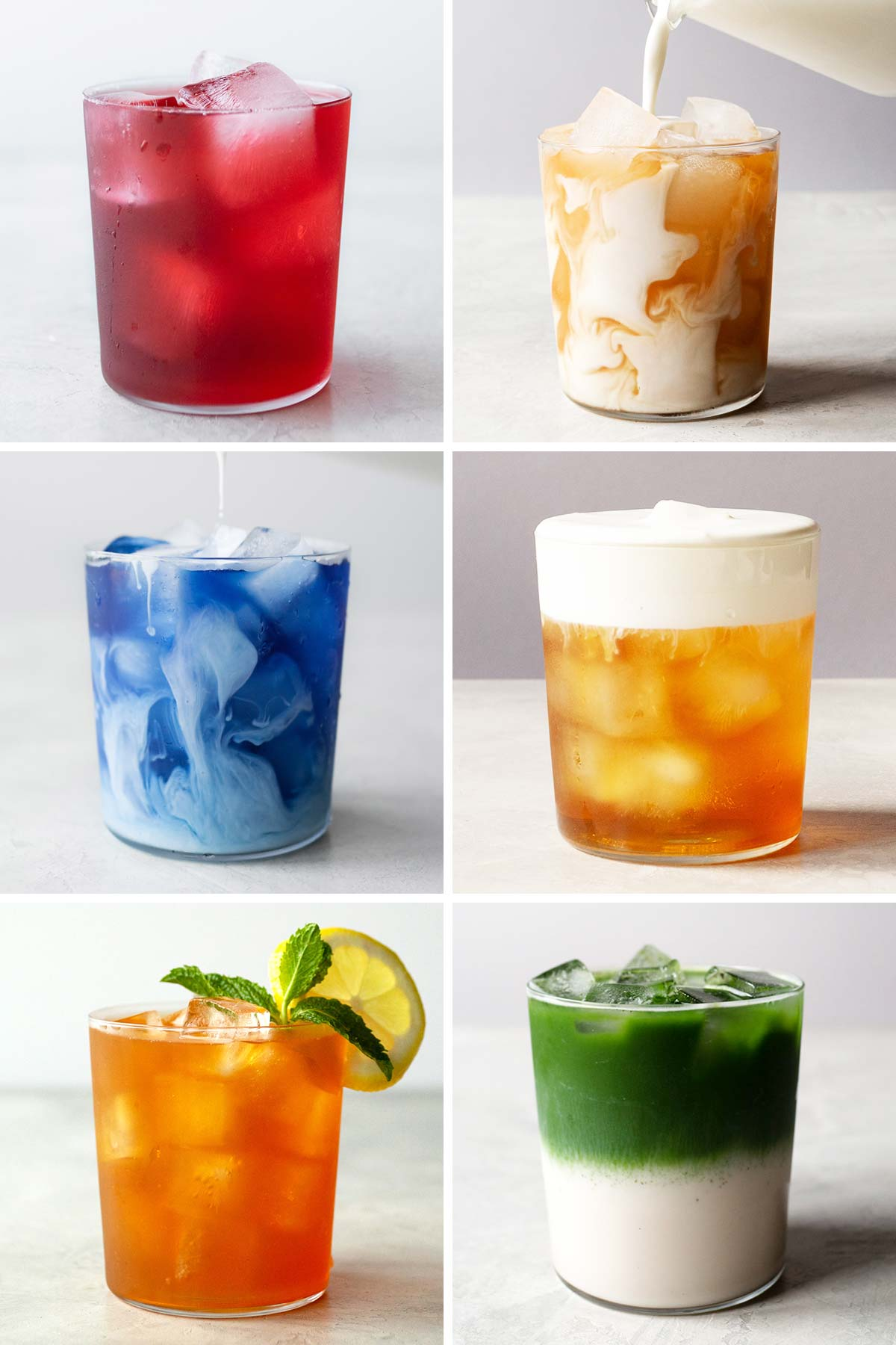 Seis collage de fotos de diferentes tés helados.